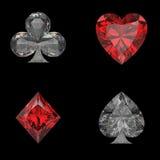 3D illustration isolated casino card marks diamond Stock Photos