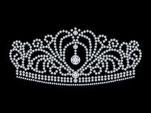 3D illustration isolated diamond crown tiara. On a black background Royalty Free Stock Photo