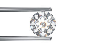 3D illustration isolated diamond in tweezers on a white backgrou. 3D illustration isolated round white diamond in silver tweezers on a white background Stock Photography