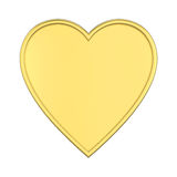 3D illustration isolated gold heart. On a white background Royalty Free Stock Photos