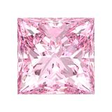 3D illustration isolated pink princess  square diamond stone on. A white background Royalty Free Stock Images