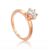 3D illustration isolated rose gold traditional solitaire engagem Stock Image