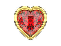 3D illustration isolated ruby diamond heart in gold frame. On a white background Stock Image