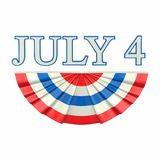 3D illustration isolated text 4 four july with blue red white fl. Ag on a white background royalty free illustration