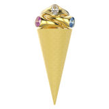 3D illustration isolated waffle ice cream with three gold rings. With diamonds on a white background Stock Images