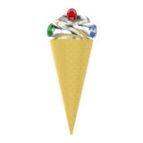3D illustration isolated waffle ice cream with three silver ring. S with diamonds on a white background Royalty Free Stock Photos