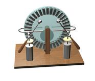 Wimshurst machine with two Leyden jars. 3D illustration of electrostatic generator. Physics. Science classrooms experiment. 3D illustration isolated on a white Royalty Free Stock Images