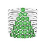 3D illustration isolated white gold or silver decorative diamond. Rings with diamonds in the form of a christmas tree on a white background Royalty Free Stock Image