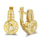 3D illustration isolated yellow gold decorative diamond earrings Royalty Free Stock Image
