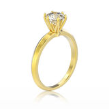 3D illustration isolated yellow gold traditional solitaire engag Stock Photos