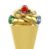 3D illustration isolated zoom macro waffle ice cream with three. Gold rings with red green blue diamonds on a white background Stock Photo