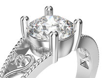 3D illustration isolated zoom macro white gold or silver ring   Royalty Free Stock Images