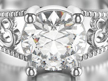 3D illustration isolated zoom macro white gold or silver ring wi Stock Photos