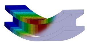 3D Illustration. Isometric deflection plot & CAD model blend of an I Beam in bending. 3D Illustration. Narrow isometric view of a deflection plot & CAD model stock illustration