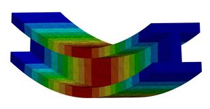 3D Illustration. Isometric deflection plot of an I Beam in bending. 3D Illustration. Narrow isometric view of a deflection plot of an I Beam in bending vector illustration