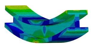 3D Illustration. Isometric stress plot & CAD model blend of an I Beam in bending. 3D Illustration. Narrow isometric view of a stress plot and CAD model blend of stock illustration