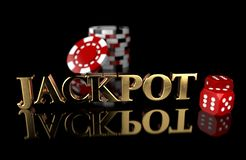 3D illustration of Jackpot message on black background gambling chips and dice. Gambling addiction royalty free illustration