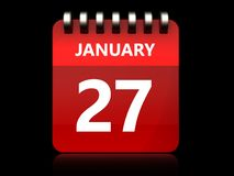 3d 27 january calendar. 3d illustration of january 27 calendar over black background Royalty Free Stock Images