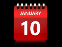 3d 10 january calendar. 3d illustration of january 10 calendar over black background Stock Photo