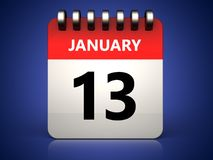 3d 13 january calendar. 3d illustration of 13 january calendar over blue background Royalty Free Stock Photos