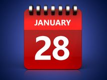 3d 28 january calendar. 3d illustration of january 28 calendar over blue background Royalty Free Stock Photos