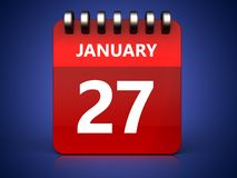 3d 27 january calendar. 3d illustration of january 27 calendar over blue background Stock Image