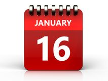 3d 16 january calendar. 3d illustration of january 16 calendar over white background Stock Image