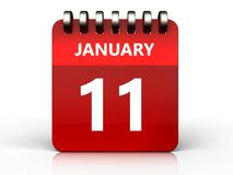 3d 11 january calendar. 3d illustration of january 11 calendar over white background Stock Images