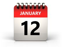 3d 12 january calendar. 3d illustration of 12 january calendar over white background Royalty Free Stock Photography