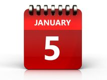 3d 5 january calendar. 3d illustration of january 5 calendar over white background Stock Image