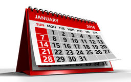 January 2018 calendar. 3d illustration of january 2018 calendar over white background with shadow Royalty Free Stock Photography