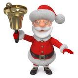 3d Illustration Jolly Santa Claus mit einer Glocke Stockfoto
