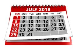 July 2018 calendar. 3d illustration of july 2018 calendar isolated over white background Stock Photo