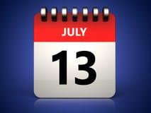 3d 13 july calendar. 3d illustration of 13 july calendar over blue background Stock Photo