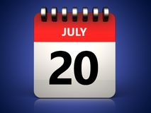 3d 20 july calendar. 3d illustration of 20 july calendar over blue background Stock Photos