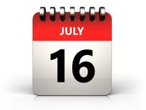 3d 16 july calendar. 3d illustration of 16 july calendar over white background Royalty Free Stock Image