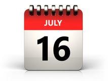 3d 16 july calendar. 3d illustration of 16 july calendar over white background vector illustration