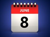 3d 8 june calendar Stock Photo