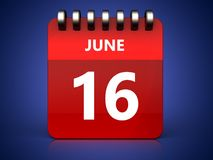 3d 16 june calendar. 3d illustration of june 16 calendar over blue background Stock Photo