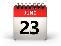 3d 23 june calendar. 3d illustration of 23 june calendar over white background Stock Images