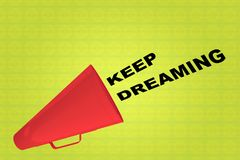 KEEP DREAMING concept. 3D illustration of KEEP DREAMING title flowing from a loudspeaker Royalty Free Stock Images