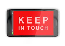 KEEP IN TOUCH concept. 3D illustration of KEEP IN TOUCH title on cellular screen, isolated on white Royalty Free Stock Photography