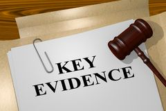 KEY EVIDENCE concept. 3D illustration of KEY EVIDENCE title on legal document Royalty Free Stock Images