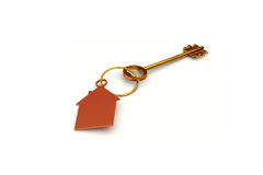 3d illustration of a key to the door, happiness, love and home Royalty Free Stock Images