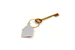 3d illustration of a key to the door, happiness, love and home Royalty Free Stock Photo