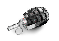 3d Illustration of Keyboard grenade concept, isolated white.  Royalty Free Stock Photos