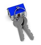 Home keys. 3d illustration of keys and house, vertical Stock Image