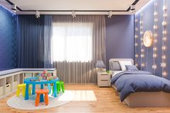 3d render of the children`s bedroom interior in deep blue color. 3d illustration of the kids bedroom in deep blue color. Visualization of the concept of royalty free illustration
