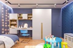 3d render of the children`s bedroom interior in deep blue color. 3d illustration of the kids bedroom in deep blue color. Visualization of the concept of vector illustration