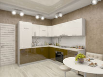 3d illustration of a kitchen in beige tones Stock Photos